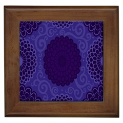 Flower Floral Sunflower Blue Purple Leaf Wave Chevron Beauty Sexy Framed Tiles by Mariart