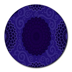 Flower Floral Sunflower Blue Purple Leaf Wave Chevron Beauty Sexy Round Mousepads by Mariart