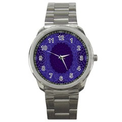 Flower Floral Sunflower Blue Purple Leaf Wave Chevron Beauty Sexy Sport Metal Watch by Mariart