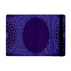 Flower Floral Sunflower Blue Purple Leaf Wave Chevron Beauty Sexy Apple Ipad Mini Flip Case by Mariart