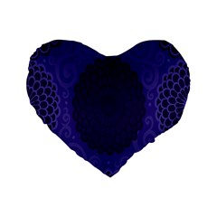 Flower Floral Sunflower Blue Purple Leaf Wave Chevron Beauty Sexy Standard 16  Premium Flano Heart Shape Cushions by Mariart
