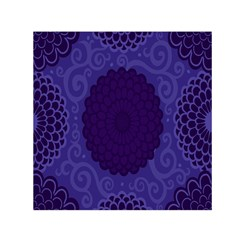 Flower Floral Sunflower Blue Purple Leaf Wave Chevron Beauty Sexy Small Satin Scarf (square) by Mariart