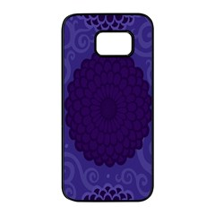 Flower Floral Sunflower Blue Purple Leaf Wave Chevron Beauty Sexy Samsung Galaxy S7 Edge Black Seamless Case by Mariart