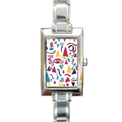 Eye Triangle Wave Chevron Red Yellow Blue Rectangle Italian Charm Watch by Mariart