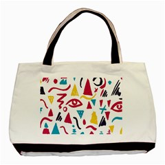 Eye Triangle Wave Chevron Red Yellow Blue Basic Tote Bag (two Sides) by Mariart