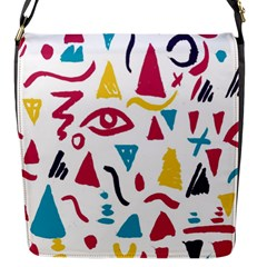 Eye Triangle Wave Chevron Red Yellow Blue Flap Messenger Bag (s) by Mariart