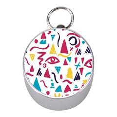 Eye Triangle Wave Chevron Red Yellow Blue Mini Silver Compasses by Mariart