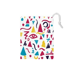 Eye Triangle Wave Chevron Red Yellow Blue Drawstring Pouches (small)