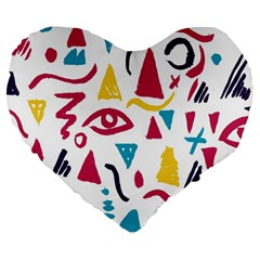 Eye Triangle Wave Chevron Red Yellow Blue Large 19  Premium Flano Heart Shape Cushions by Mariart