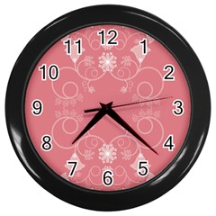 Flower Floral Leaf Pink Star Sunflower Wall Clocks (black) by Mariart