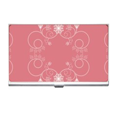 Flower Floral Leaf Pink Star Sunflower Business Card Holders by Mariart