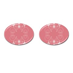 Flower Floral Leaf Pink Star Sunflower Cufflinks (oval) by Mariart