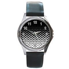 Gradient Circle Round Black Polka Round Metal Watch