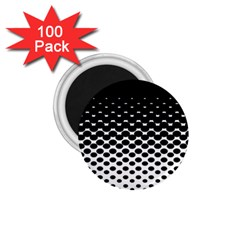 Gradient Circle Round Black Polka 1 75  Magnets (100 Pack)  by Mariart