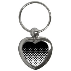 Gradient Circle Round Black Polka Key Chains (heart)  by Mariart