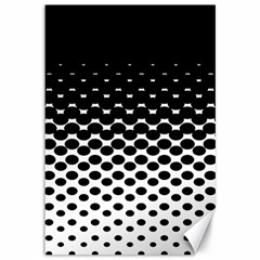 Gradient Circle Round Black Polka Canvas 12  X 18   by Mariart