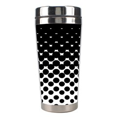 Gradient Circle Round Black Polka Stainless Steel Travel Tumblers by Mariart