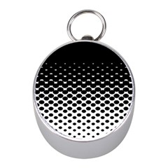 Gradient Circle Round Black Polka Mini Silver Compasses by Mariart