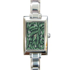 Coconut Leaves Summer Green Rectangle Italian Charm Watch by Mariart