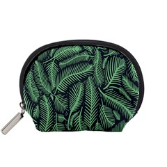 Coconut Leaves Summer Green Accessory Pouches (small)  by Mariart