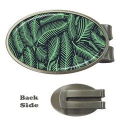 Coconut Leaves Summer Green Money Clips (oval)  by Mariart
