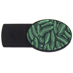Coconut Leaves Summer Green Usb Flash Drive Oval (2 Gb) by Mariart