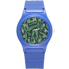 Coconut Leaves Summer Green Round Plastic Sport Watch (s) by Mariart