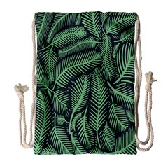 Coconut Leaves Summer Green Drawstring Bag (large) by Mariart