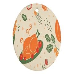 Happy Thanksgiving Chicken Bird Flower Floral Pumpkin Sunflower Ornament (oval) by Mariart