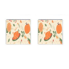 Happy Thanksgiving Chicken Bird Flower Floral Pumpkin Sunflower Cufflinks (square) by Mariart
