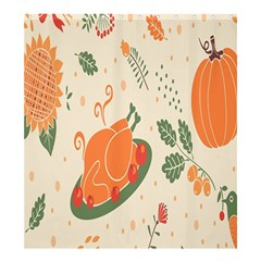 Happy Thanksgiving Chicken Bird Flower Floral Pumpkin Sunflower Shower Curtain 66  X 72  (large)  by Mariart