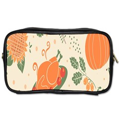 Happy Thanksgiving Chicken Bird Flower Floral Pumpkin Sunflower Toiletries Bags 2 Side by Mariart