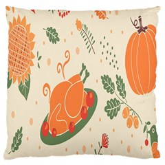 Happy Thanksgiving Chicken Bird Flower Floral Pumpkin Sunflower Large Cushion Case (two Sides)