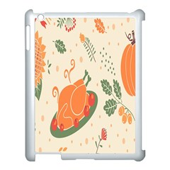 Happy Thanksgiving Chicken Bird Flower Floral Pumpkin Sunflower Apple Ipad 3/4 Case (white) by Mariart