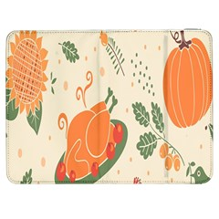 Happy Thanksgiving Chicken Bird Flower Floral Pumpkin Sunflower Samsung Galaxy Tab 7  P1000 Flip Case by Mariart