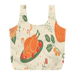 Happy Thanksgiving Chicken Bird Flower Floral Pumpkin Sunflower Full Print Recycle Bags (l)  by Mariart