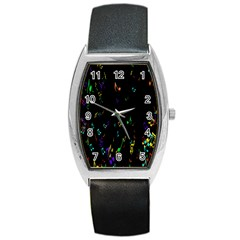 Colorful Music Notes Rainbow Barrel Style Metal Watch by Mariart