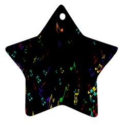 Colorful Music Notes Rainbow Star Ornament (two Sides)