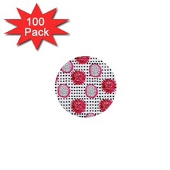Fruit Patterns Bouffants Broken Hearts Dragon Polka Dots Red Black 1  Mini Buttons (100 Pack)