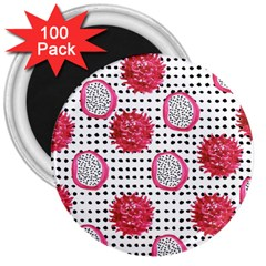 Fruit Patterns Bouffants Broken Hearts Dragon Polka Dots Red Black 3  Magnets (100 Pack) by Mariart