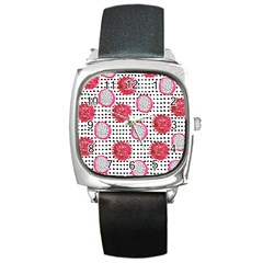 Fruit Patterns Bouffants Broken Hearts Dragon Polka Dots Red Black Square Metal Watch by Mariart