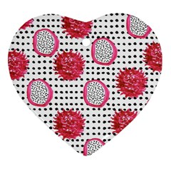 Fruit Patterns Bouffants Broken Hearts Dragon Polka Dots Red Black Heart Ornament (two Sides) by Mariart