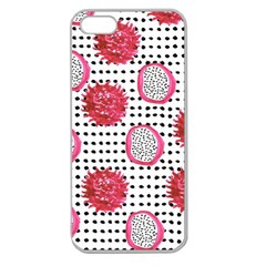 Fruit Patterns Bouffants Broken Hearts Dragon Polka Dots Red Black Apple Seamless Iphone 5 Case (clear) by Mariart