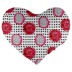 Fruit Patterns Bouffants Broken Hearts Dragon Polka Dots Red Black Large 19  Premium Flano Heart Shape Cushions by Mariart