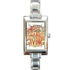 Happy Thanksgiving Sign Rectangle Italian Charm Watch by Mariart