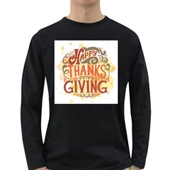 Happy Thanksgiving Sign Long Sleeve Dark T Shirts