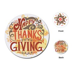 Happy Thanksgiving Sign Playing Cards (round)