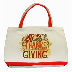Happy Thanksgiving Sign Classic Tote Bag (red) by Mariart