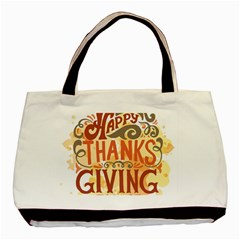 Happy Thanksgiving Sign Basic Tote Bag (two Sides) by Mariart