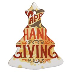 Happy Thanksgiving Sign Christmas Tree Ornament (two Sides) by Mariart